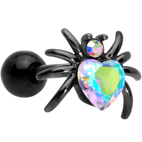 16 Gauge 1/4 Aurora Gem Black Heart Spider Cartilage Tragus