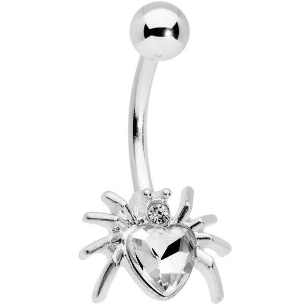 Clear Gem Halloween Heart Spider Belly Ring