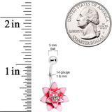 Aurora Gem Pink Red Rose Flower Belly Ring