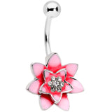 Clear Gem Pink Red Rose Flower Belly Ring