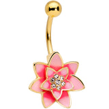 Clear Gem Gold Tone Pink Red Rose Flower Belly Ring