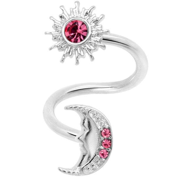 14 Gauge 7/16 Pink Gem Moon Spiral Twister Belly Ring