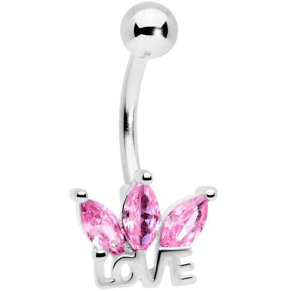 Pink Gem Crown of Love Belly Ring