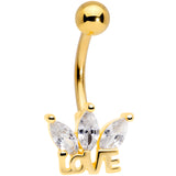 Clear Gem Gold Tone Crown of Love Belly Ring