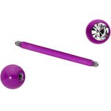 Clear Gem Purple Glow in the Dark Barbell Tongue Ring