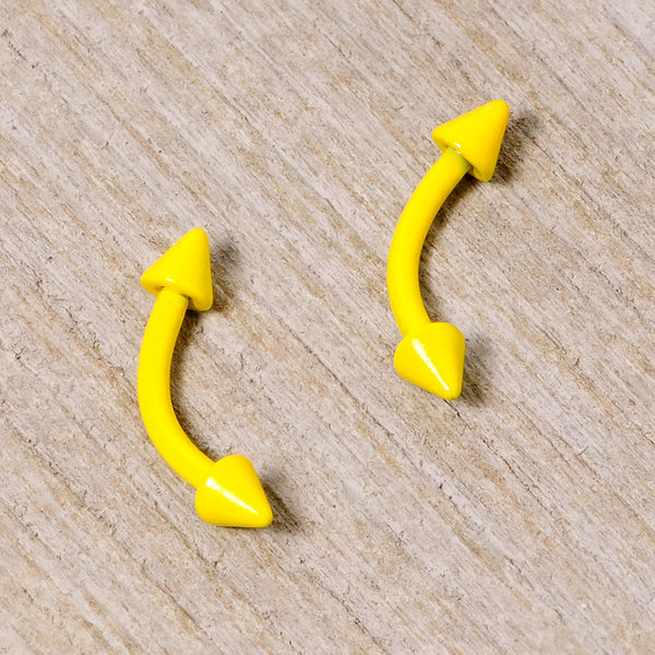 16 Gauge 5/16 Yellow Glow in the Dark Cone End Curved Barbell Set of 2