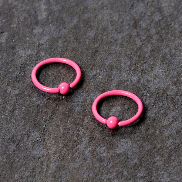 16 Gauge 3/8 Pink Glow in the Dark BCR Captive Ring Set of 2