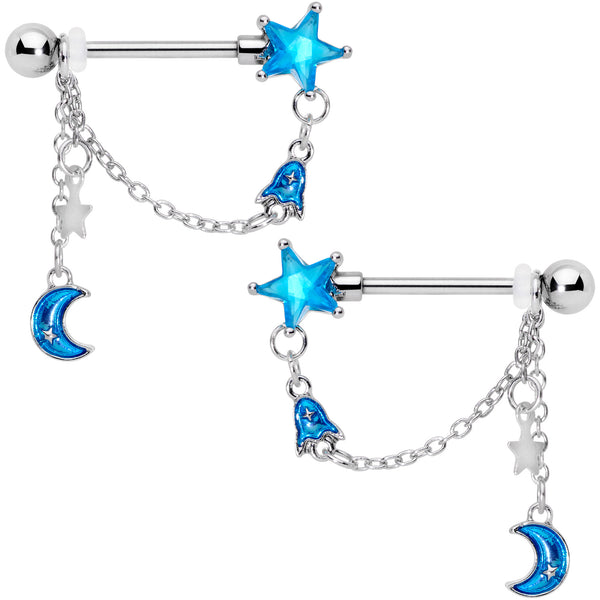 14 Gauge 5/8 Blue Gem Rocket Star Moon Dangle Barbell Nipple Ring Set