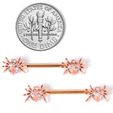 14 Gauge 9/16 Clear Gem Rose Gold Tone Heart Spider Nipple Ring Set
