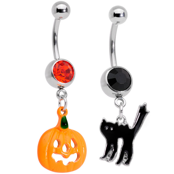 Black Red Gem Pumpkin Cat Halloween Dangle Belly Ring Set of 2
