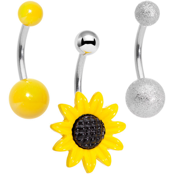 Sandblasted and Yellow UV Glow Sunflower Belly Ring Set of 3