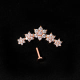 16 Gauge 1/4 Clear CZ Gem Rose Gold Tone Floral Internal Thread Labret