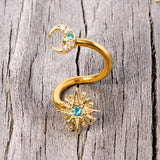 14 Gauge 3/8 Clear Blue Gem Gold Tone Moon Star Spiral Twister Belly Ring
