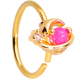 20 Gauge 5/16 Clear CZ Gem Pink Faux Opal Gold Tone Planet Nose Hoop