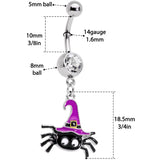 Clear Gem Black Purple Witchy Spider Halloween Dangle Belly Ring