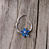 16 Gauge 3/8 Blue Gem Royal Flower Hinged Segment Ring