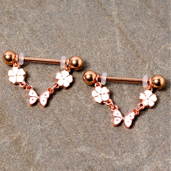 14 Gauge 5/8 Gold Tone White Flower Butterfly Dangle Nipple Ring Set