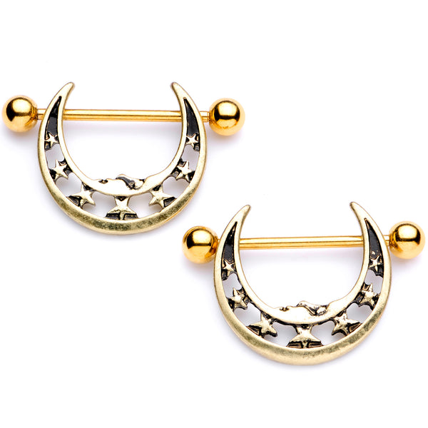 14 Gauge 7/8 Gold Tone Starry Crescent Moon Nipple Shield Set