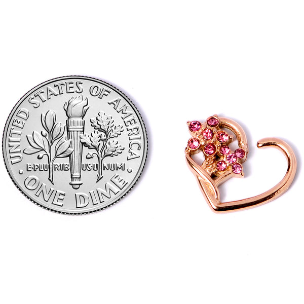 16 Gauge 3/8 Pink Gem Rose Gold Tone Heart Right Ear Closure Ring