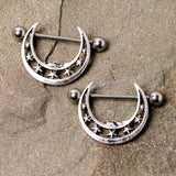 14 Gauge 7/8 Starry Crescent Moon Nipple Shield Set