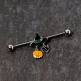 14 Gauge Black Cat Witch Hat Halloween Dangle Industrial Barbell 38mm