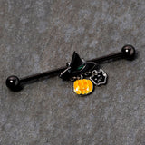 14 Gauge Black Cat Witch Hat Black Halloween Industrial Barbell 38mm