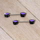 14 Gauge 11/16 Purple Cauldron Halloween Barbell Nipple Ring Set