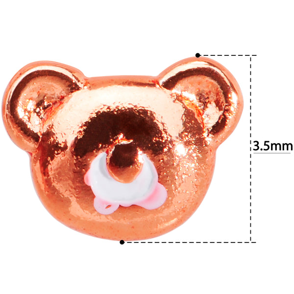 22 Gauge 5/16 Rose Gold Tone Tiny Teddy Bear L Shaped Nose Ring
