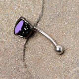 16 Gauge 5/16 Black Purple Cauldron Halloween Curved Eyebrow Ring