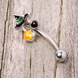 16 Gauge 5/16 Black Green Witches Hat Halloween Curved Eyebrow Ring