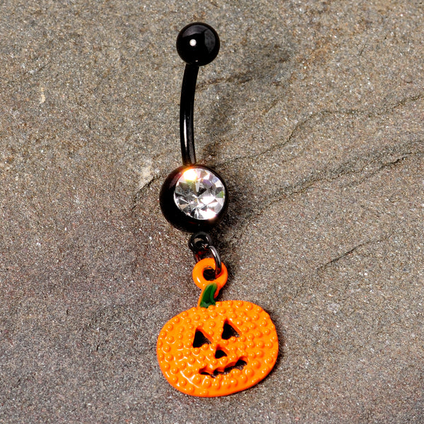 Clear Gem Black Orange Pumpkin Halloween Dangle Belly Ring