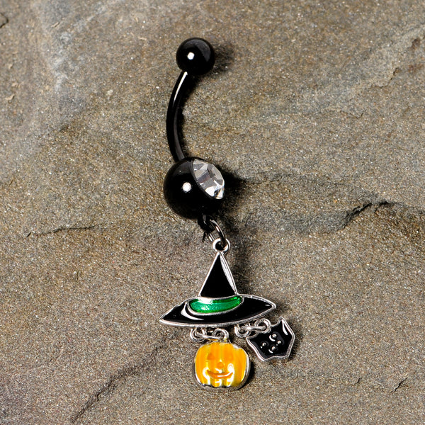 Clear Gem Black Cat Witch Hat Halloween Dangle Belly Ring
