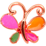 18 Gauge 1/4 Pink Orange Rose Gold Tone Butterfly L Shaped Nose Ring