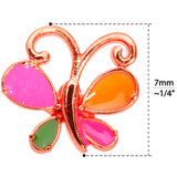22 Gauge 1/4 Pink Orange Rose Gold Tone Butterfly L Shaped Nose Ring