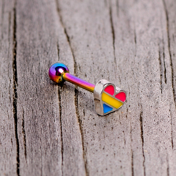 16 Gauge 5/16 Pink Blue Rainbow Pansexual Pride Heart Cartilage Tragus