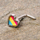 20 Gauge 5/16 Red Yellow Blue Pansexual Pride Heart L Shaped Nose Ring