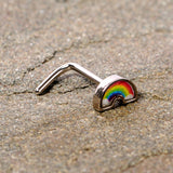 20 Gauge 1/4 Red Yellow Blue Pride Rainbow L Shaped Nose Ring
