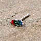 20 Gauge 5/16 Blue Green Red Feather Nose Bone