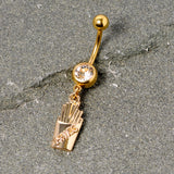Clear Gem Gold Tone Fast Food French Fries Dangle Belly Ring
