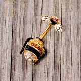 Clear Black Yellow Gem Gold Tone Bee Double Mount Belly Ring