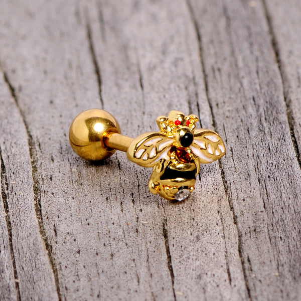 16 Gauge 1/4 Clear Black Gem Gold Tone Honey Bee Cartilage Tragus