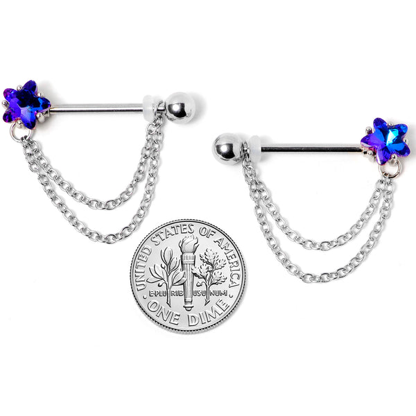 14 Gauge 5/8 Blue Purple Gem Star Chain Dangle Barbell Nipple Ring Set