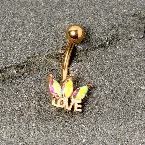 Aurora Gem Gold Tone Crown of Love Belly Ring