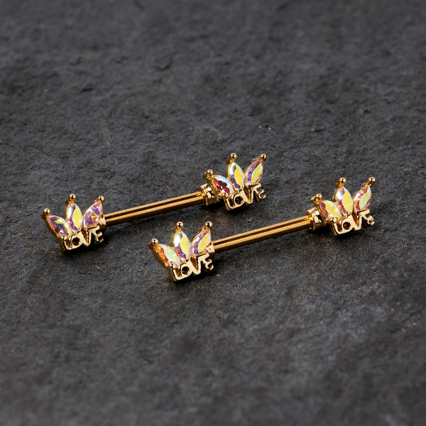 14 Gauge 9/16 Aurora Gem Gold Tone Crown Love Barbell Nipple Ring Set