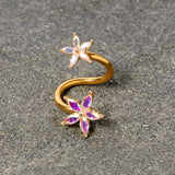 14 Gauge Aurora Gem Gold Tone Star Flower Spiral Twister Belly Ring