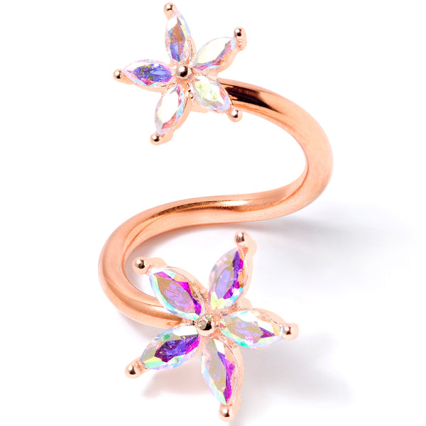 14 Gauge Aurora Gem Rose Gold Tone Star Flower Spiral Twister Ring