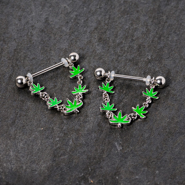 14 Gauge 5/8 Green Marijuana Pot Leaf Dangle Barbell Nipple Ring Set