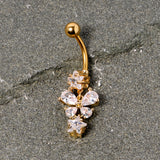 Clear Gem Gold Tone Star and Bow Dangle Belly Ring