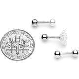16 Gauge 1/4 Clear Gem Flower Cartilage Tragus Set of 3