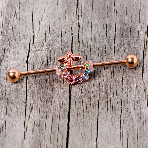 14 Gauge Multicolor Gem Rose Gold Tone Bee Industrial Barbell 38mm